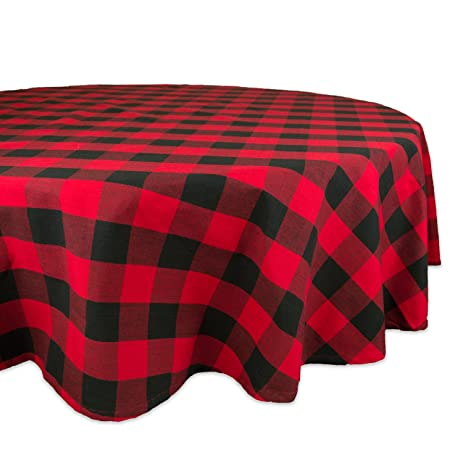 DII 70u0026quot; Round Cotton Tablecloth, Red U0026 Black Buffalo Check Plaid    Perfect For