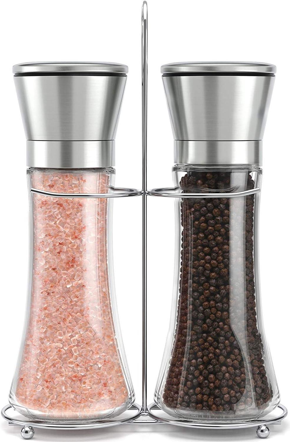/altezza macinini per sale e pepe con grana regolabile/ /Macinino per sale e pepe shaker set Xelparucts originale in acciaio INOX set macina sale e pepe con supporto/