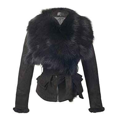 8e4ff1c0f33 She sModa Luxury Faux Suede Real Fox Fur Collar Jacket with Belt Slim Fit  Women s