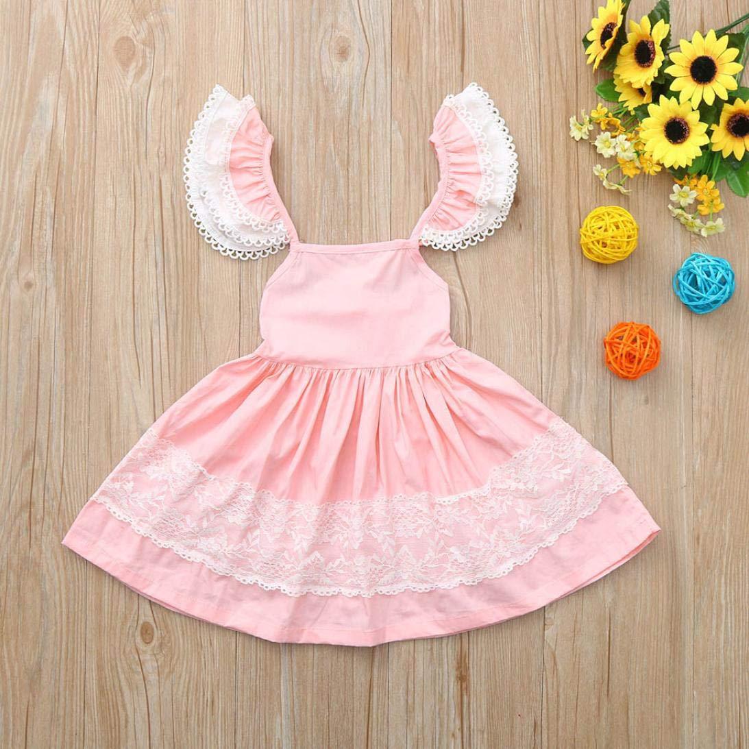 Adagod Toddler Infant Baby Girl Floral Sundress Sleeveless Straps Clothe Dress