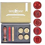 Uniqooo Arts & Crafts Vintage Adhesive Sealing Wax Stamp Kit - Hogwarts Ministry of Magic Badge and 4 House Badges-Gold, Red, and Black Wax Sticks with Wicks- Great Gift for a Friend of Relative
