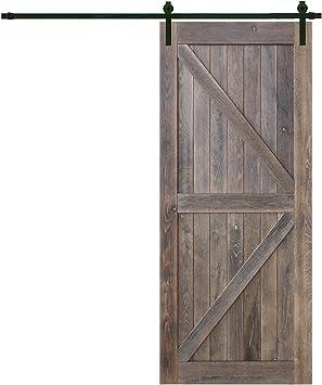 Juego de pistas para puerta corredera interior de madera reciclada, 91,44 x 213,36 cm, con puerta corredera: Amazon.es: Bricolaje y herramientas