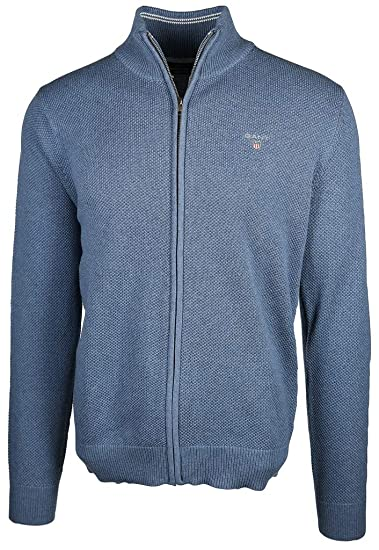 ffc096efbd6a GANT Herren Strickjacke Cotton Pique Zip Cardigan: Amazon.de: Bekleidung