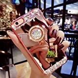 iPhone 7 Plus Case, MACBOU Luxury Crystal Rhinestone Soft Rubber Bumper Bling Diamond Glitter Mirror Makeup Case with Ring Stand Holder for iPhone 7 Plus (Rose Gold)