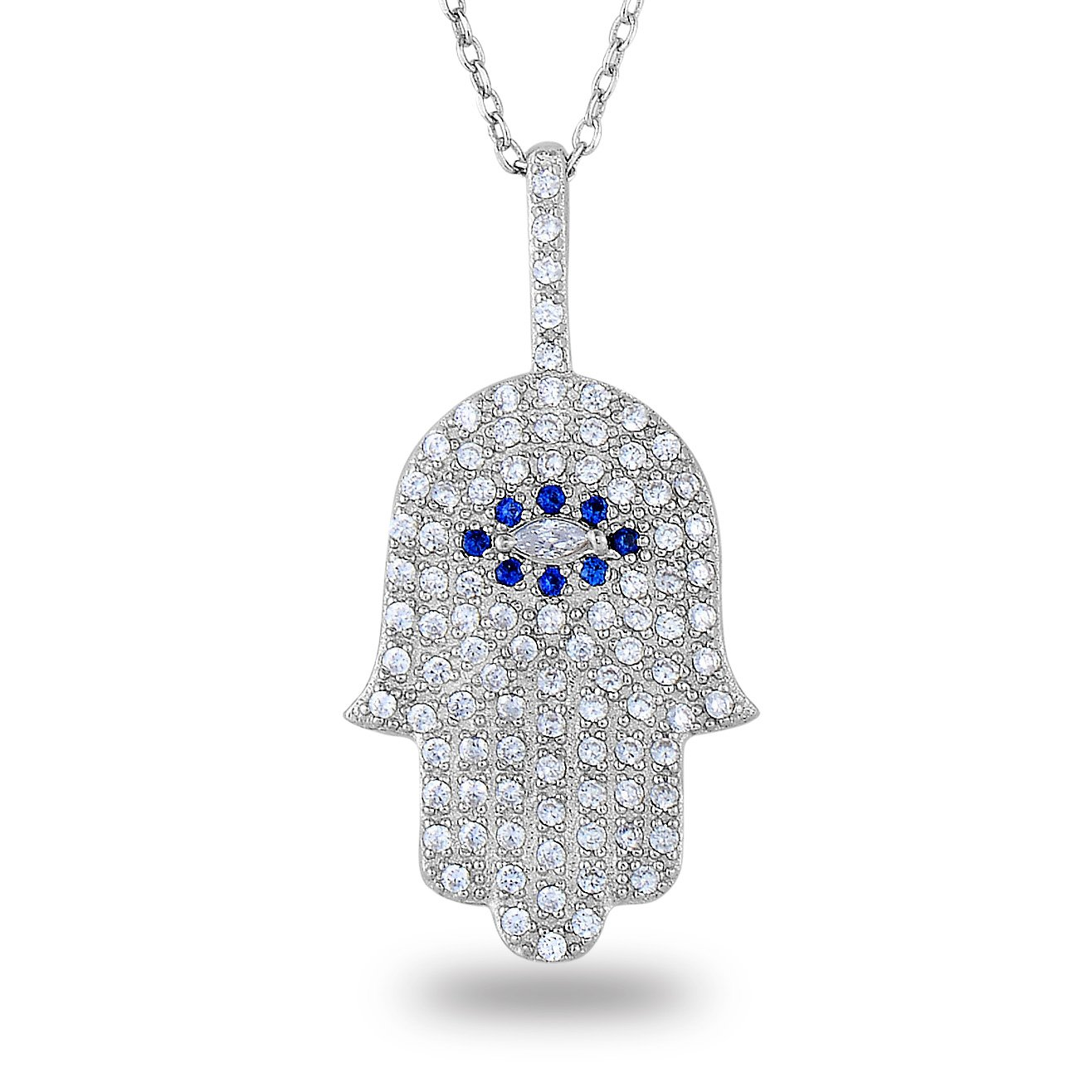 Rhodium-Plated Sterling Silver Cubic Zirconia Pave Evil Eye Hamsa Hand Fatima Pendant Necklace,18\