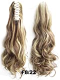 Beauty Wig World 20inch 50cm 100g Long Wave Curly Ponytail Hairpiece Extension Claw Clip on in Hair Piece - #8H22 medium brown/Light blonde