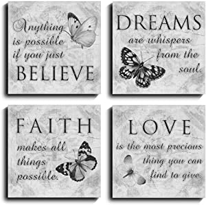 Quotes Wall Art Paintings of Contemporary Home Living Room Decor Artworks (12x12inch, Black White)