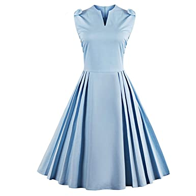 Penin Vintage Dresses 50S 60S Women New Summer V Neck Sleeveless A-Line Midi Blue Robe Femme Vestidos Retro Party Dress at Amazon Womens Clothing store: