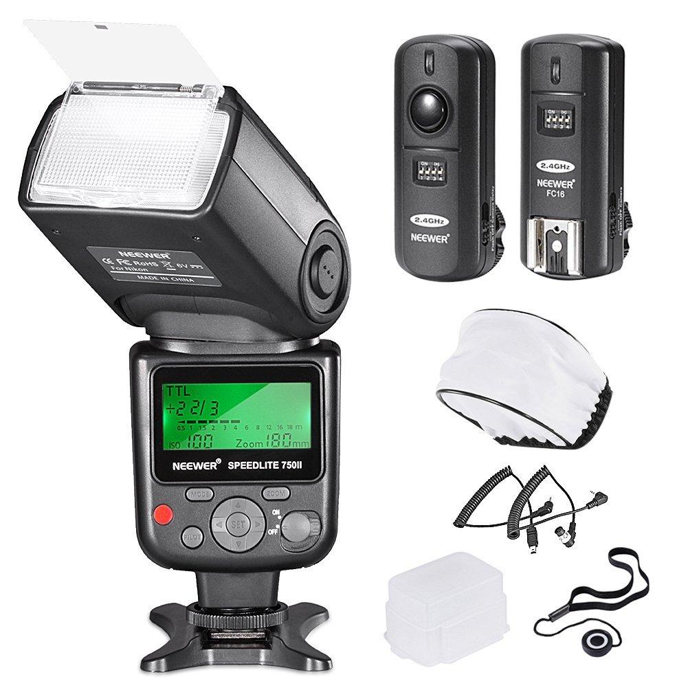 Neewer PRO i-TTL FlashDeluxe Kit for NIKON DSLR D7100 D7000 D5300 D5200 D5100 D5000 D3200 D3100 D3300 D90 D800 D700 D300 D300S D610, D600, D4 D3S D3X D3 D200 N90S F5 F6 F100 F90 F90X D4S D SLR Camera- Includes: Neewer VK750 II Auto-Focus Flash + Wireless