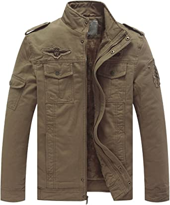 WenVen Homme Blouson Style Militaire Classique pour Automne