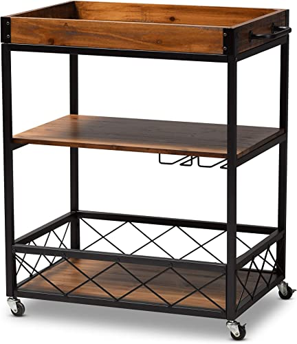 Baxton Studio Wine Carts, One Size, Golden Oak Black