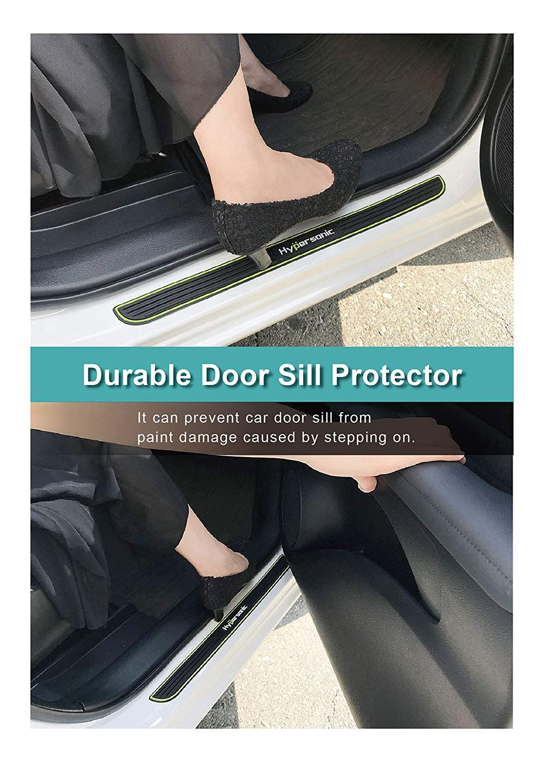 Hypersonic Universal 4PCS Front /& Rear Door Sill Protectors Anti-Scuff Scratch Sticker Door Threshold Guard Scuff Plates Panel Step Bumper Black