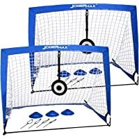 JOGENMAX Portable Soccer Goal, Pop Up Goal Nets with Aim Target,Set of 2, with Agility Training Cones,Led Lights and…