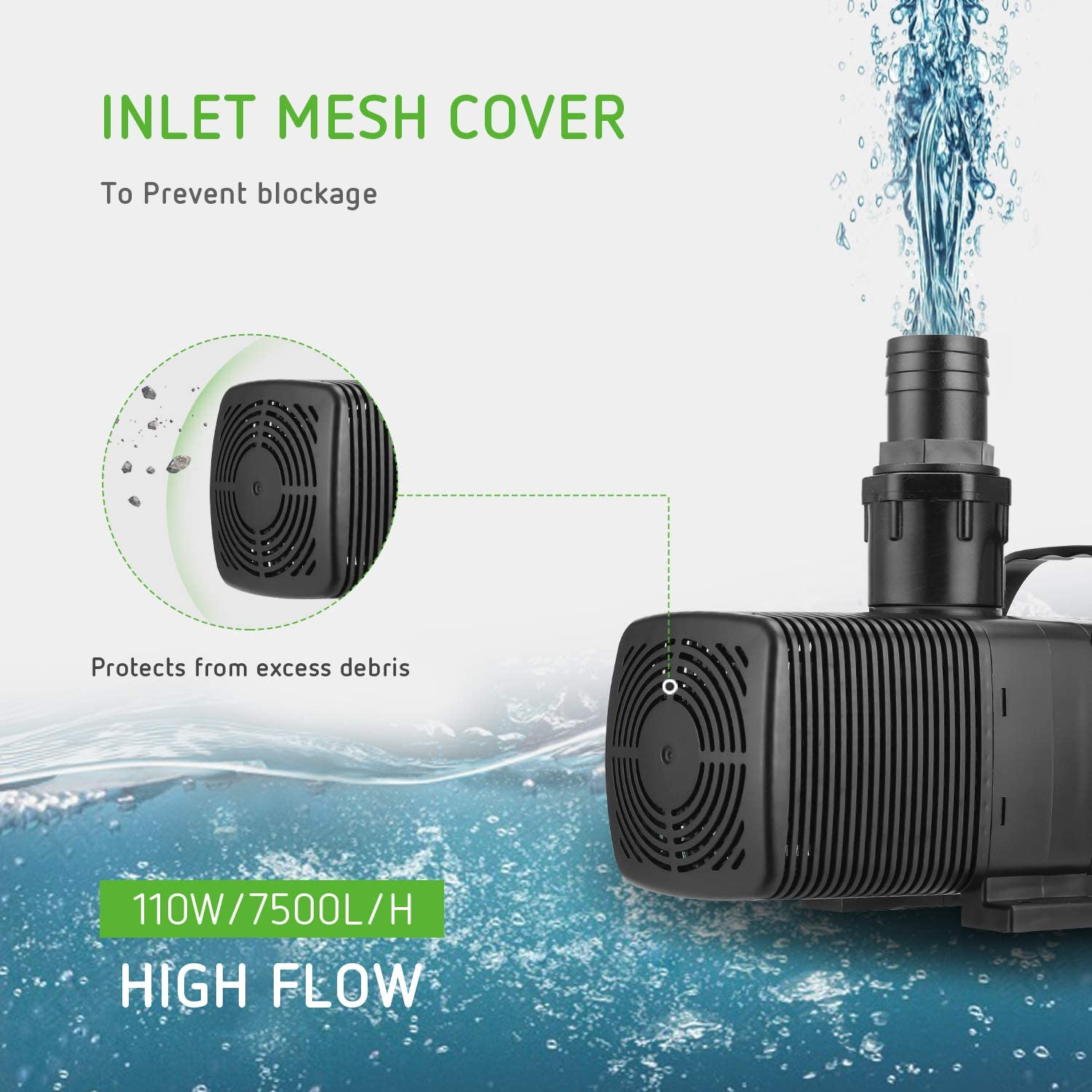 VIVOSUN 1982 GPH Submersible Water Pump110W Ultra Quiet Pump with 20.3ft Power Cord High Lift for Pond Waterfall Fish Tank Statuary Hydroponic