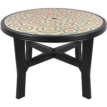 Gartentisch selber bauen fliesen  Solider Gartentisch Ø110x72cm runde Tischplatte Fliesen-Mosaik-Optik ...