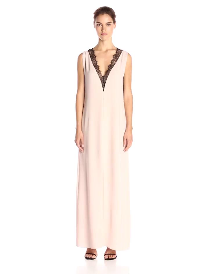 e2671ec27a44 Amazon.com  BCBGMax Azria Women s Llena Lace Trimmed Maxi V-Neck Dress
