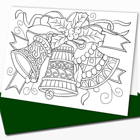 Tarjetas de Navidad para colorear por adultos y niños: Amazon.es ...