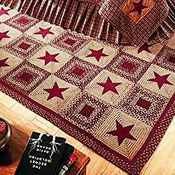 IHF Home Decor Rectangle Braided Rugs 4 x 6 Feet Country Star Wine Design Jute Fiber