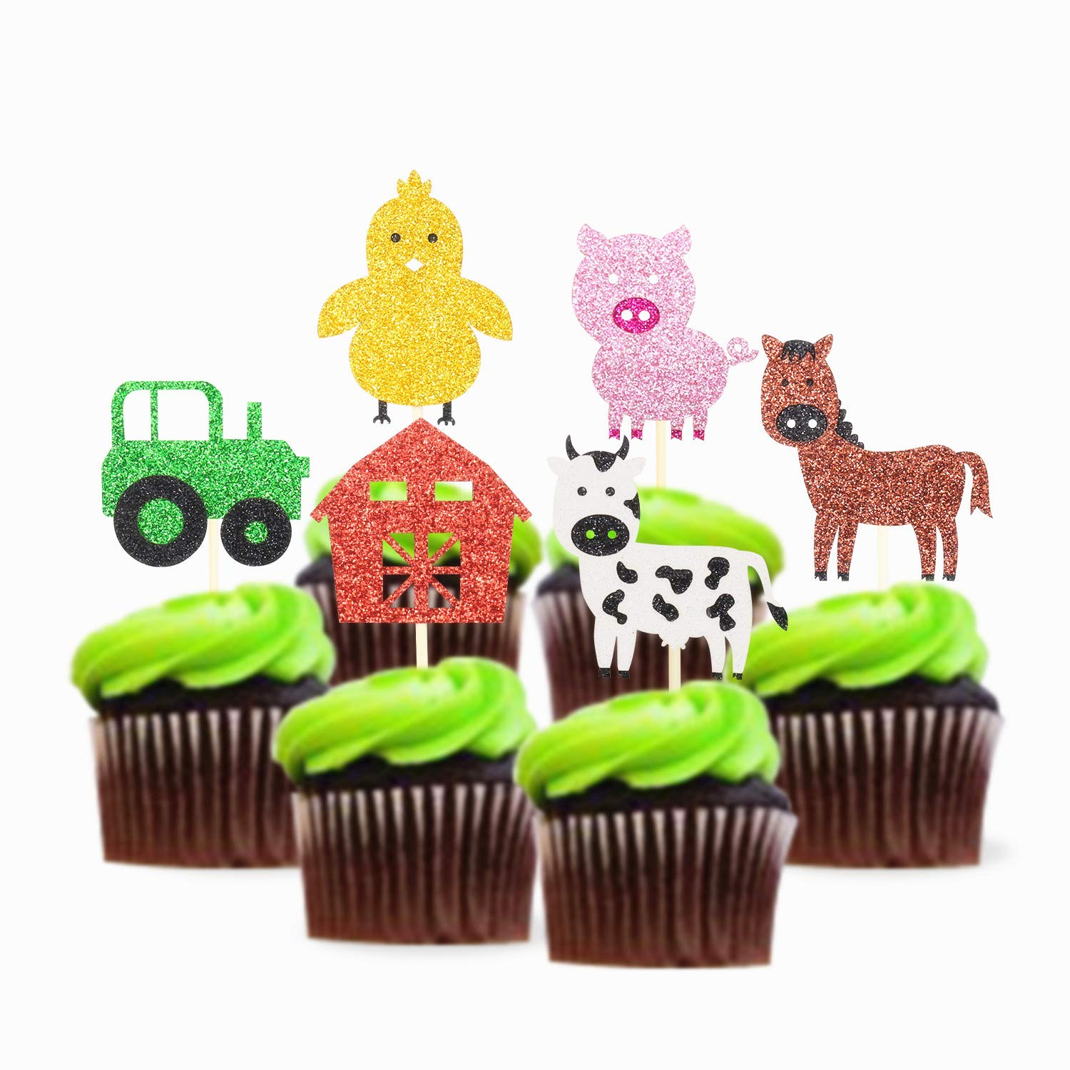 Glitter Farm Zoo Animal Cupcake Topper Appetizer Decorations Cake Picks 24 pieces Birthday Party Baby Shower Supplies by SIFAN