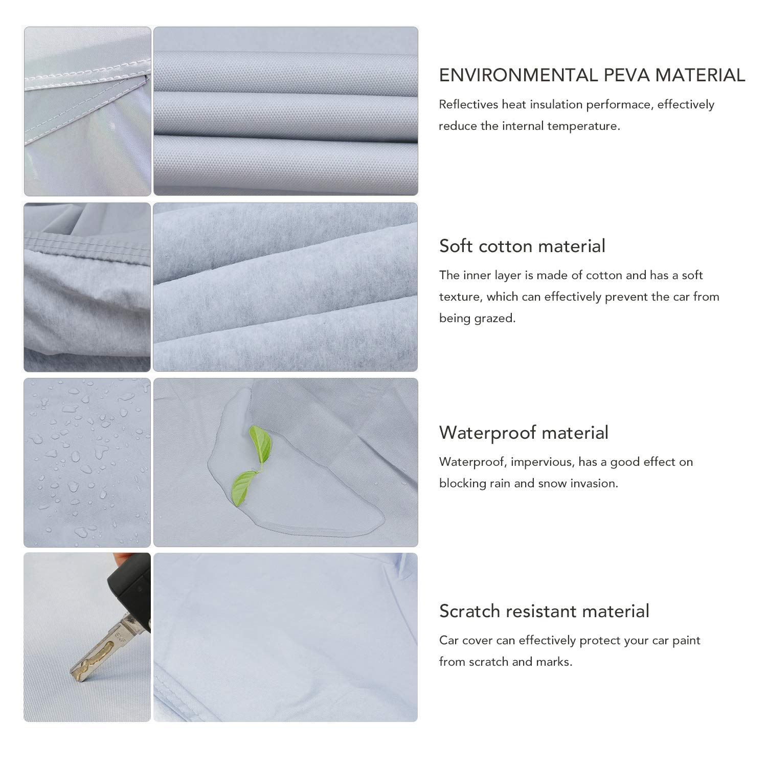 All Weather UV Protection Full Car Cover Universal Fit MIMIDI Outdoor Sedan Auto Vehicle Cover