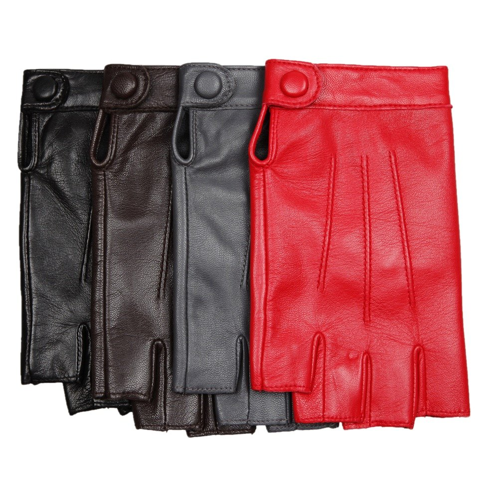 Warmen Women's Nappa Genuine Leather Half Finger Mittens Snap Closure (S, red)