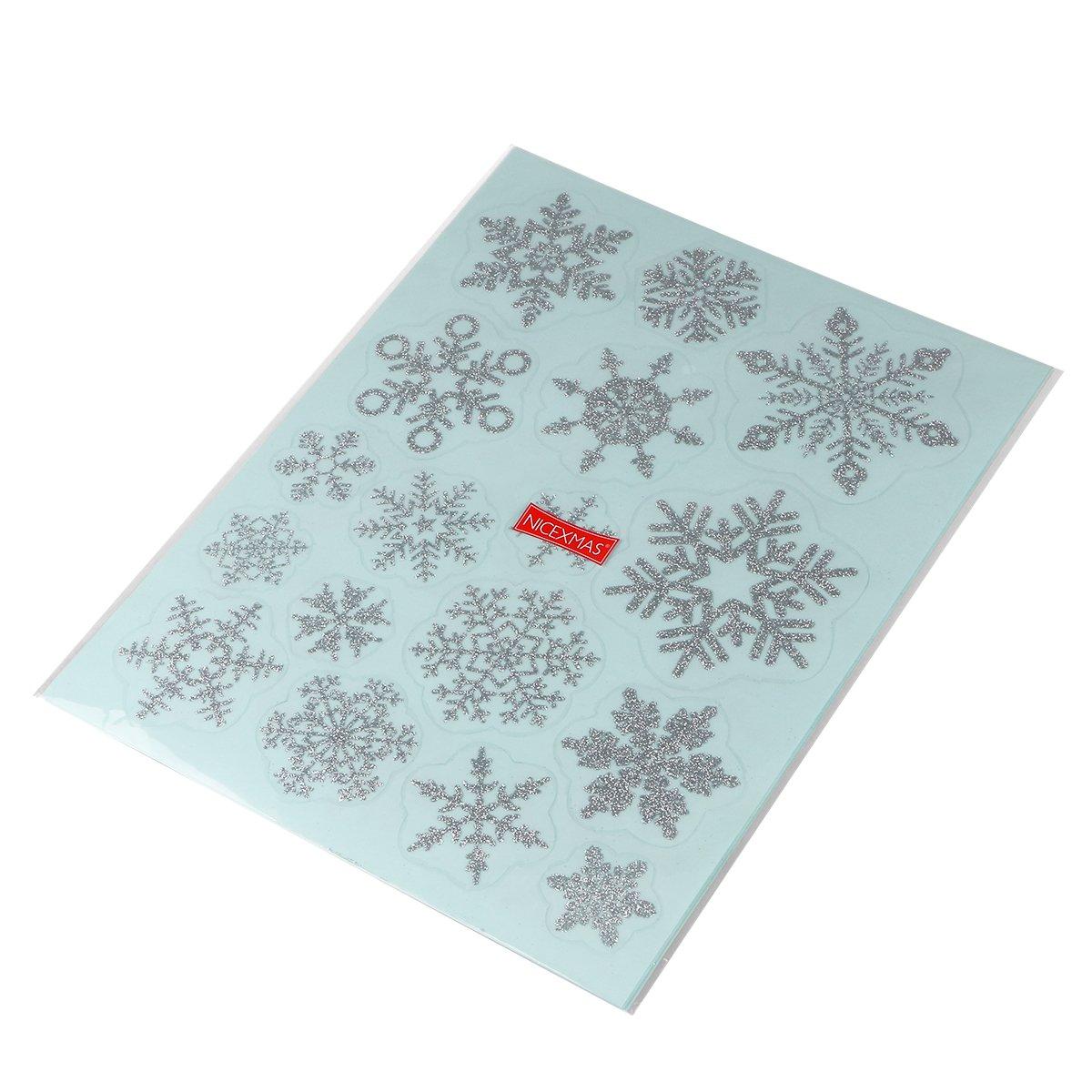 NICEXMAS 68 Pcs Christmas Decal Sticker Fiocchi di neve Decorazione Adesivo rimovibile in PVC