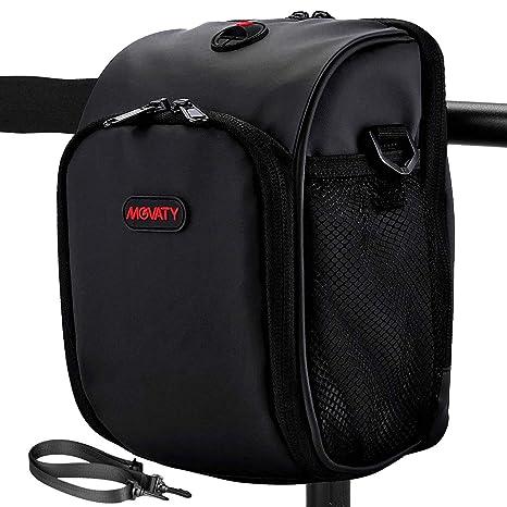 Cycling Bags Bike Bicycle Handlebar Bag Front Basket Bag with Rain Cover Black