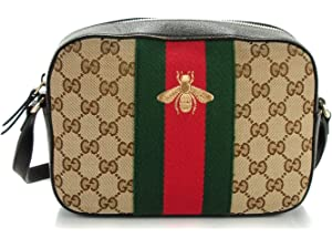 c2bf3fbd72e Gucci Bee Brown Web Camera Case Webby Red Stripe Camera Leather Bag Italy  New
