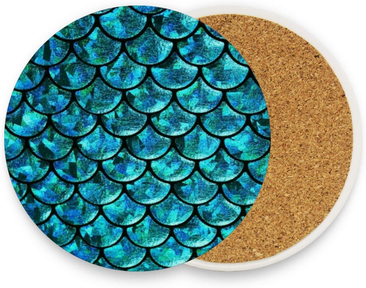 visesunny Blue Mermaid Scale Drink Coaster Moisture Absorbing Stone Coasters with Cork Base for Tabletop Protection Prevent Furniture Damage, 2 Pieces