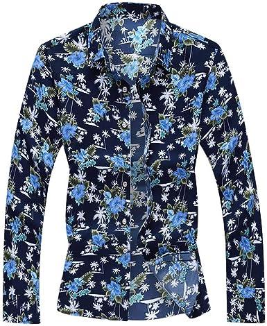 Camisas Hawaianas Hombre Camisetas de Manga Larga para Hombre Moda Impresa Funky Camisa Hawaiana señores | m -6XL | Manga Larga | Ocio Suelto | impresión de Hawaii| Camisa de otoño: Amazon.es: