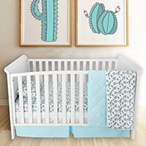 Cactus Crib Bedding Set - Soft Jersey Knit Cotton | 4 Pieces Nursery Set for Boys or Girls - Includes Crib Sheet, Quilted Blanket, Crib Skirt, Pillowcase - Gender Neutral Design in Aqua, Green, Pink