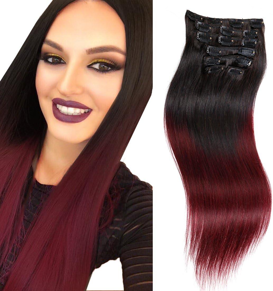 Doble trama cabeza completa clip en extensiones de pelo humano cabello Ombre recto 5 colores Rubio Cobre rojo burdeos marrón a Rubio 70 g-160g 7 ...