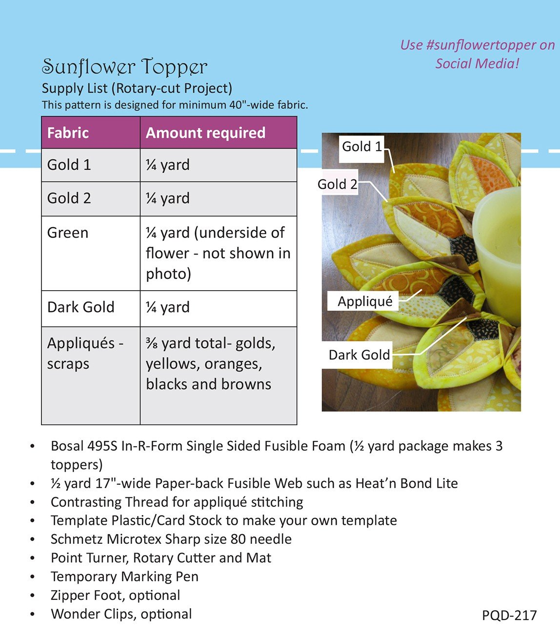 Poorhouse Quilt Designs Sunflower Topper Pattern