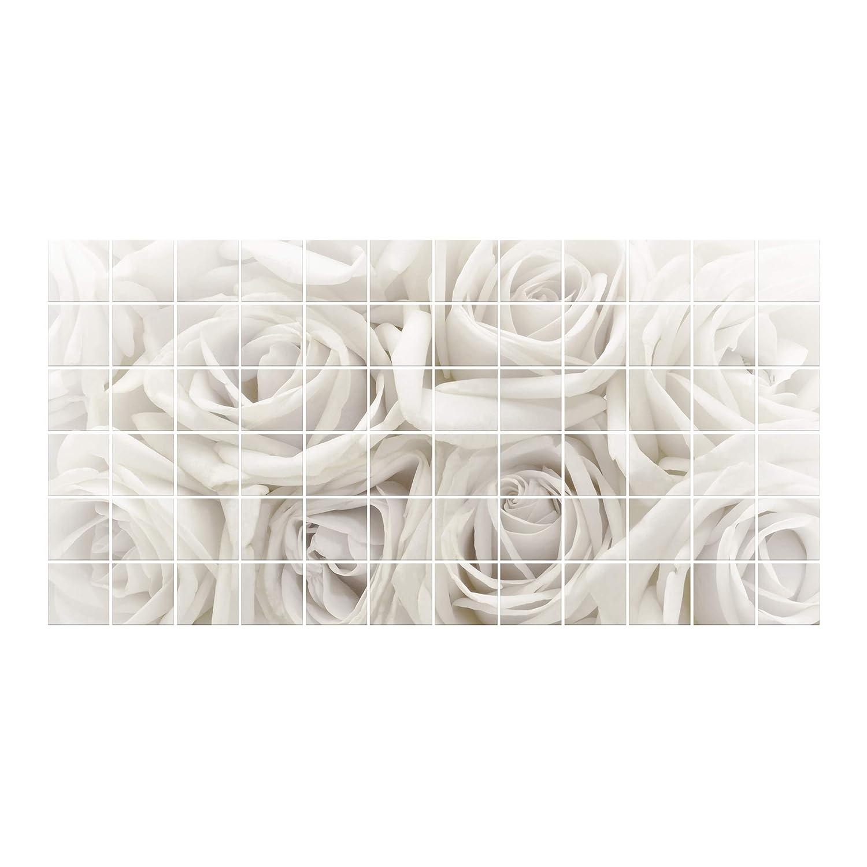 Apalis Fliesenbild weiße Rosan, FliesenGröße  15 cm x 20 cm, Maße  60cm x 120cm