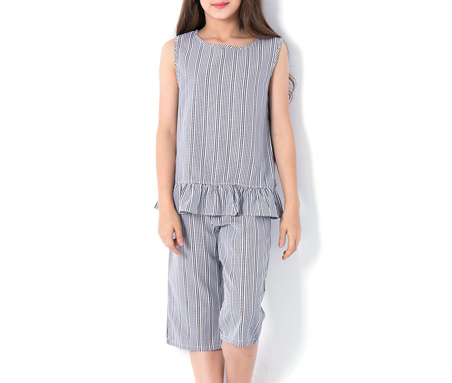 Zcaosma Young Girl Sets Striped Vest Wide Leg Pants Set for Big Teenage Girls,Grey,6
