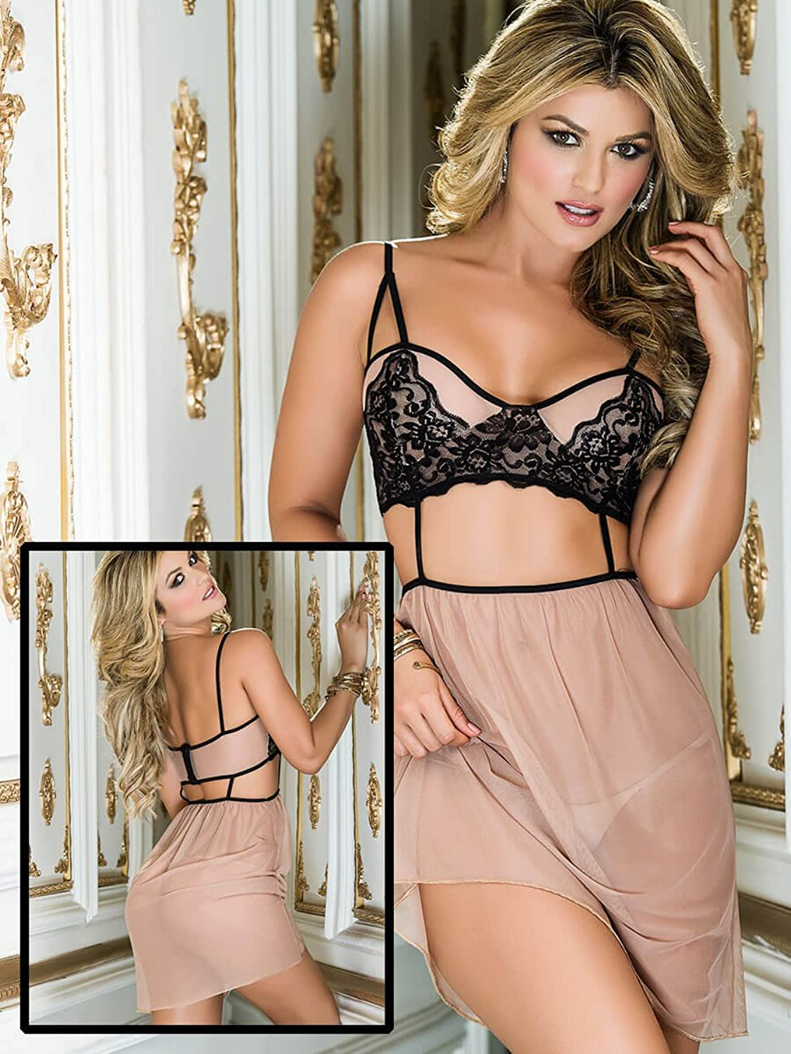 Mapale Sexy Glamour Girl Babydoll & G-String Lingerie Set (Nude) (UK 10-12)