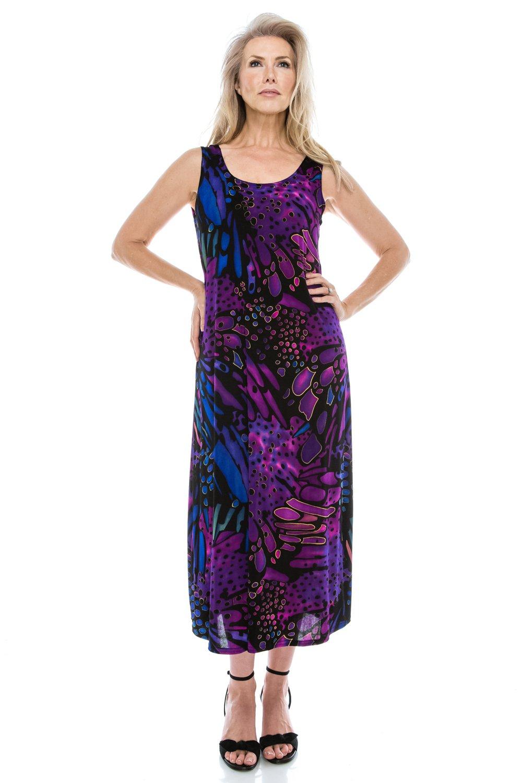 Jostar Sleeveless Printed Stretchy Tank Long Dress in Purple Medium
