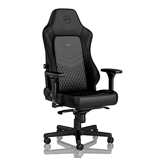 noblechairs HERO Silla de Gaming - Silla de Oficina - Cuero Auténtico - Reclinable a 135° - 150 kg - Diseño de Asiento de Carreras - Negro