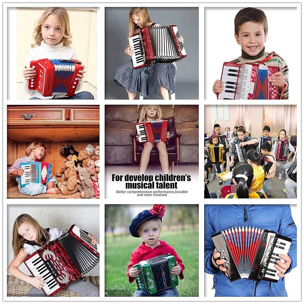 Accordion Musical Toy Kids Accordion with Straps 7 Keys 2 Bass Mini Size Accordion Music Instruments for Beginners Students Small Educational Instrument Band Toys Children's Gift by Ybriefbag-Musical Instruments (Image #2)
