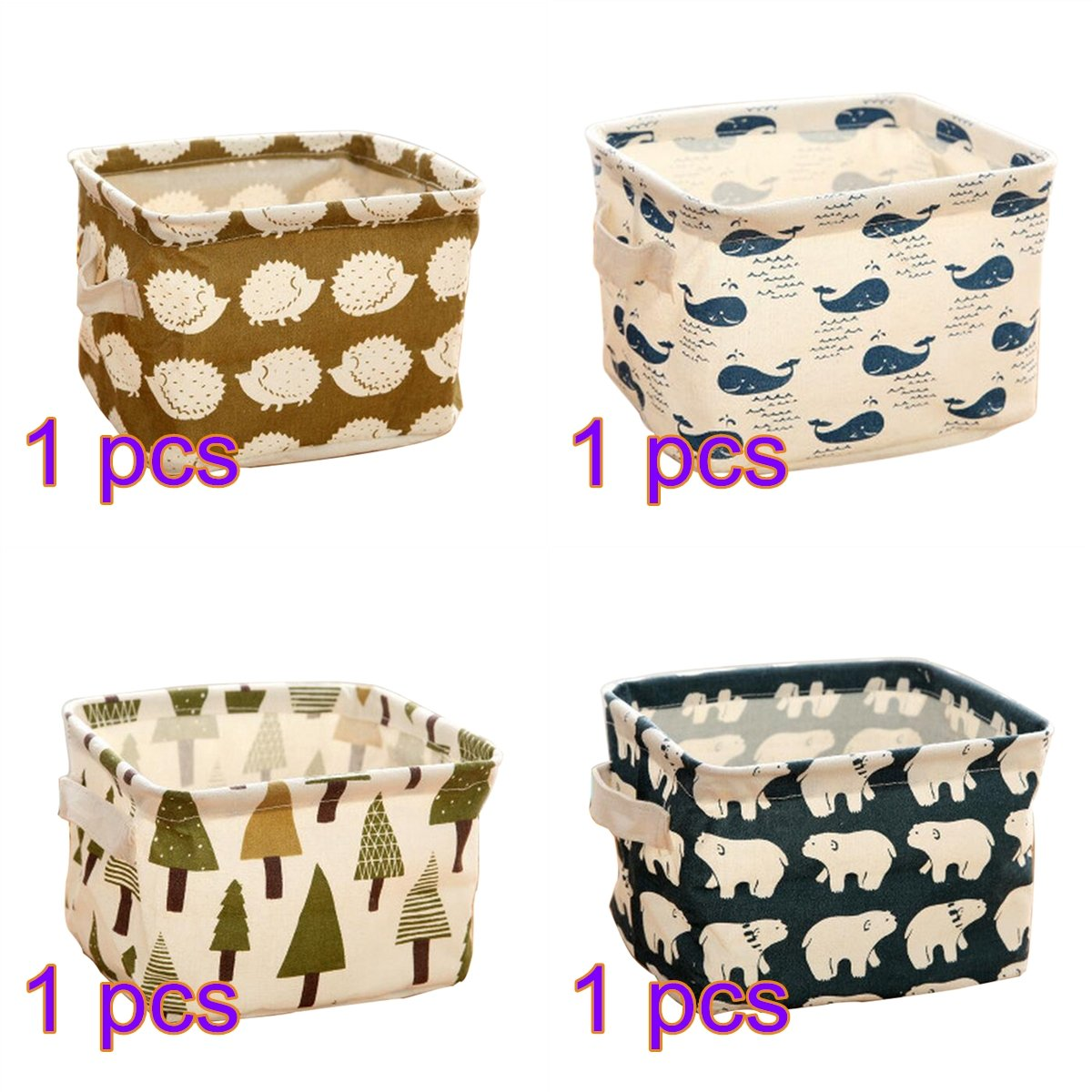 Hosaire 4 Pcs Foldable Cube Storage Bin Fabric Basket Organizer Containers Drawers for Nursery, Offices, Home Organization