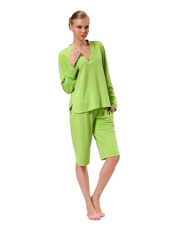 RAIKOU Women s Pyjama Set Long sleeves V-neck top and Short Pant (Green 61eee955b