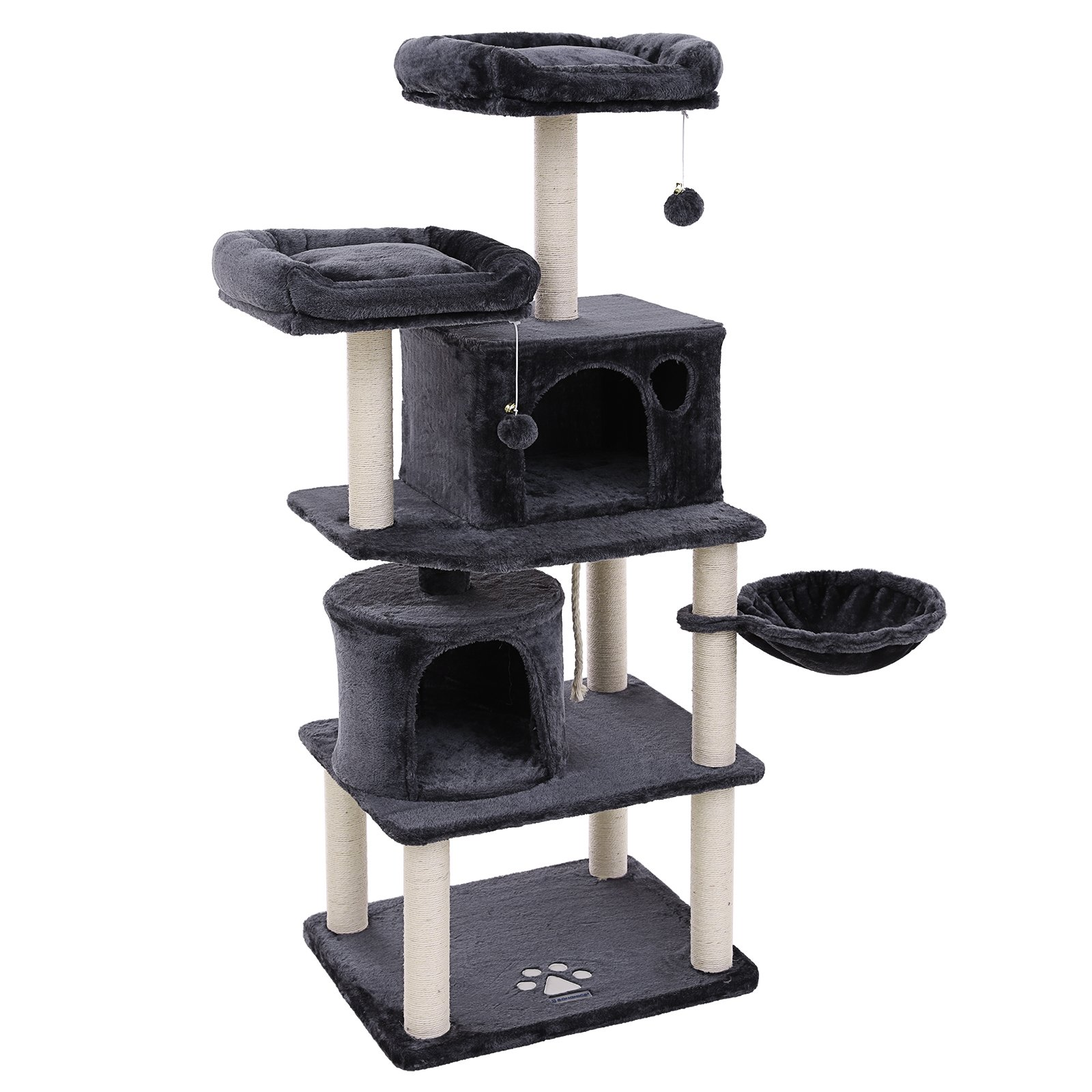 SONGMICS Multi-Level 60'' Cat Tree with Sisal-Covered Scratching Posts, Plush Perches, Basket and 2 Condos, Cat Tower Furniture - for Kittens, Cats and Pets - Smoky Gray UPCT90G