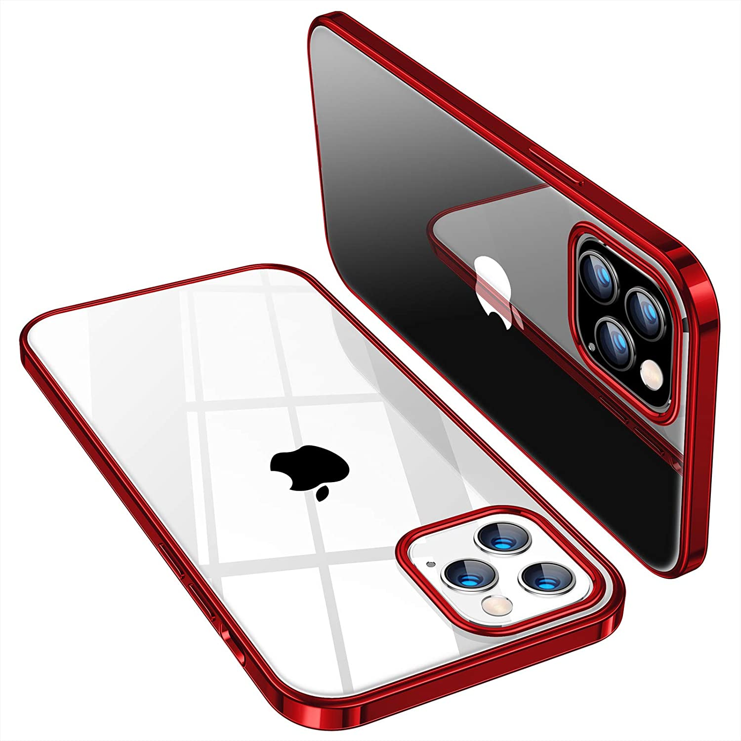 TORRAS Crystal Clear Compatible with iPhone 12 Case (2020) / Designed for iPhone 12 Pro Case 6.1 Inch 5G 2020, Glossy Red
