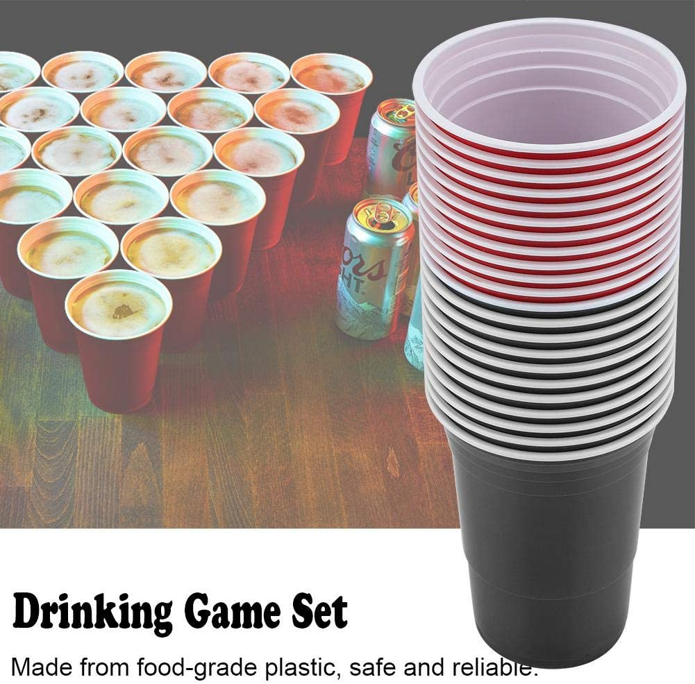 Group Events red cups 11+black cups11+4balls Camping Vikye Beer Pong Set Tailgating BBQs Beer Pong Cups-22 Cups 4 Ping-Pong Balls for Outdoor Events such as Parties