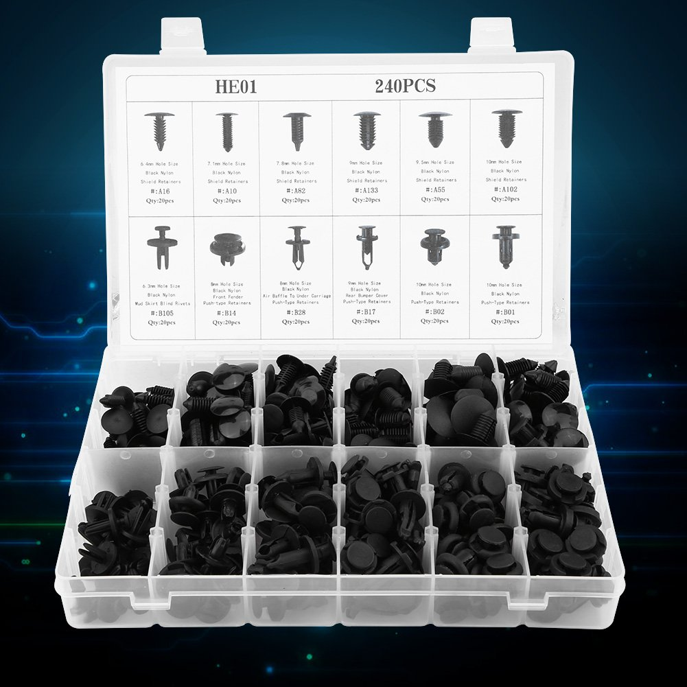 240pcs 12 Sizes HE01 Car Body Push Type Retainers Push Pin Trim Bumper Fixed Clamp Bumper Fastener Clip Push Pin Rivet Trim Auto Plastic Rivet Retainer Assortment