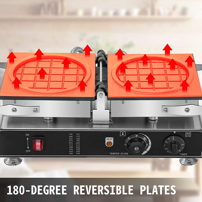 Adjustable Temp.122-572℉ Timer Range 0-5 min Depth:0.43,Dia:7.08 VEVOR 110V Commercial Waffle Maker 180 Degree Reversible 1600W Electric Round Waffle Maker Nonstick Teflon Coating Plates
