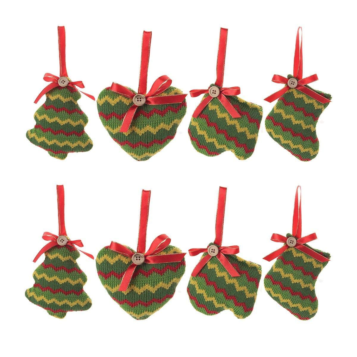 Amazon.com: Christmas Tree Ornaments Stocking Decorations - 8pcs ...
