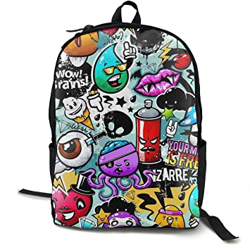 Casual Daypack Big Capacity Anti-Theft Multipurpose Shoulder Bag Backpack for School Outdoors Bicycle - Cartoon Graffiti, Travel Hiking Daypack