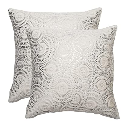 cde411be59a897 KEYNOTES Silver Fur Throw Pillows Covers 18x18, [Set of 2] Soft Accent Home