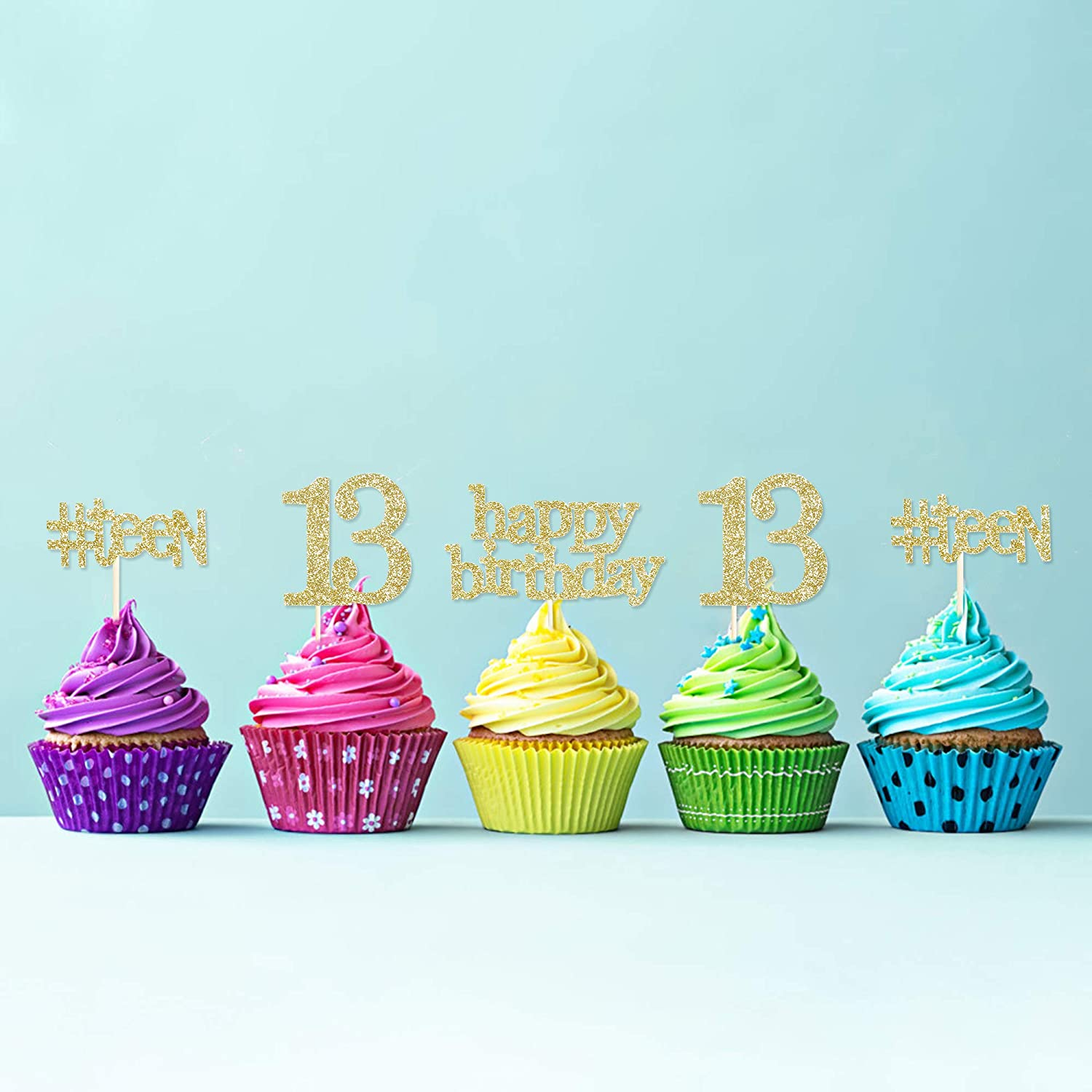 13TH BIRTHDAY SILVER 13 BALLOONS 12 Edible Cupcake Toppers love kids bday teen